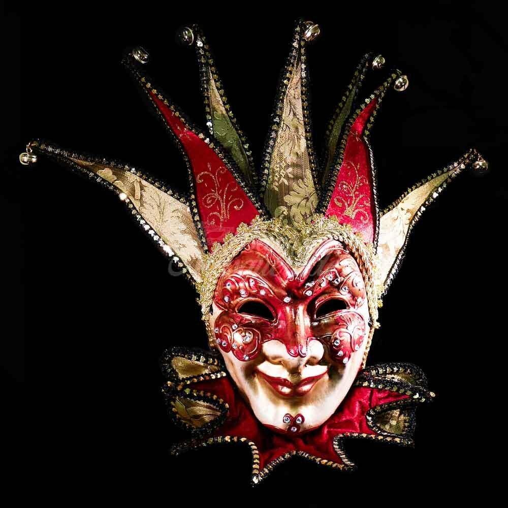 Venetian Fabric Embroidery Masquerade Theater Jester Mask ...