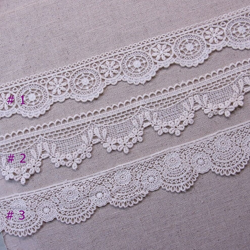 Antique Style Scalloped Embroidered Cotton Crochet Lace Trim 1Yd | EBay