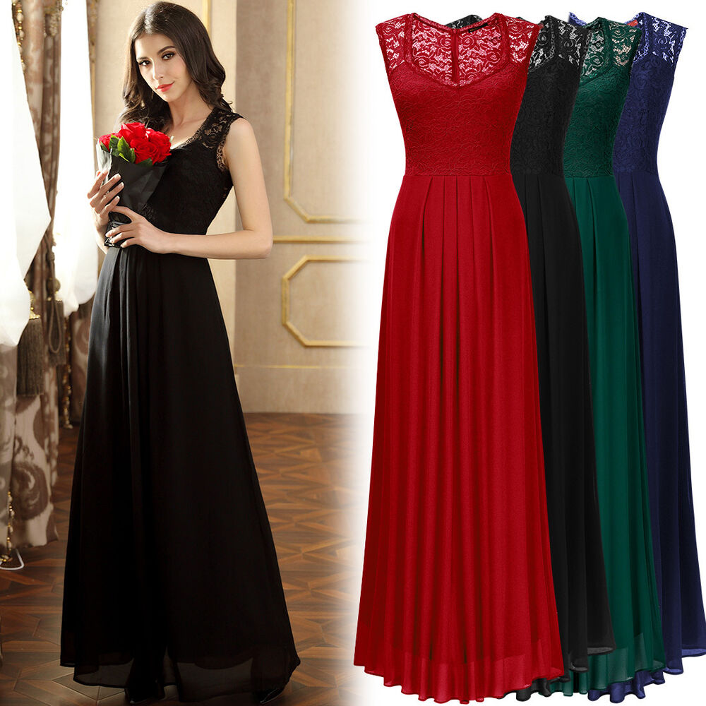 Womens long chiffon lace formal evening prom party for Long maxi dresses for weddings