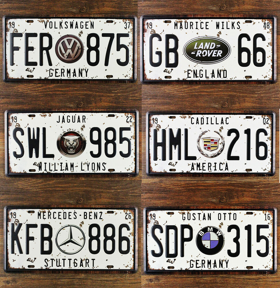 Metal Signs For Home Decor: Automobile Branded Car Licence Plate Tin Sign Metal Wall