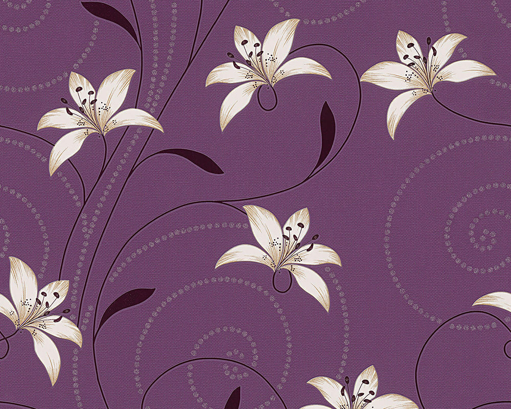 New a s creation lilly floral feature wallpaper purple for Black and cream wallpaper
