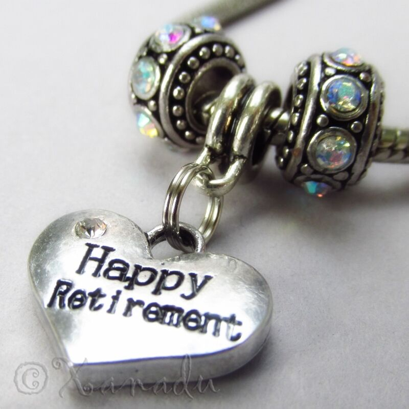 Happy Retirement European Heart Charm And Birthstones For