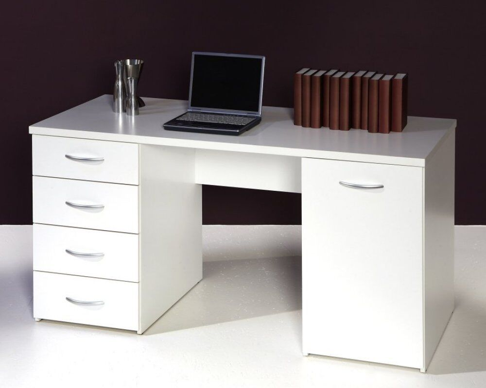 schreibtisch computertisch pc tisch b ro home office weiss neu 161305 ebay. Black Bedroom Furniture Sets. Home Design Ideas