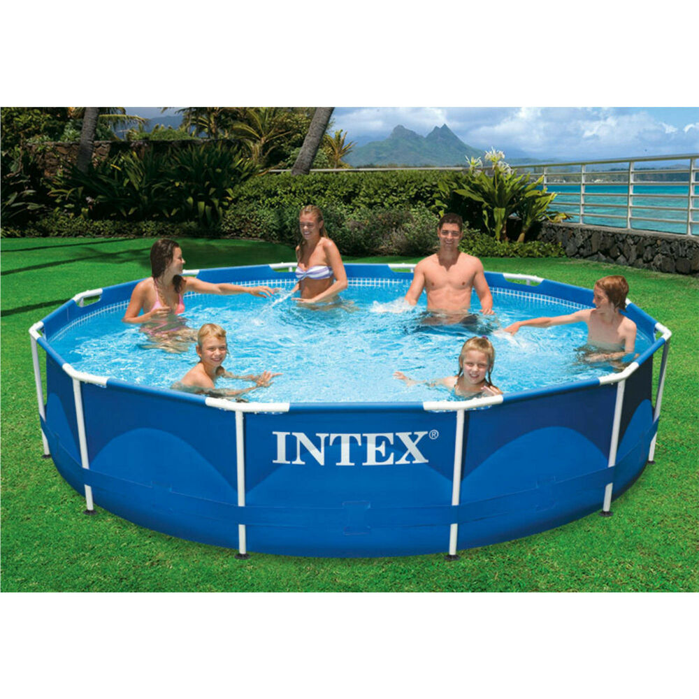 Swimming pool 12 39 x 30 metal frame intex large family pool set w filter pump ebay - Steel frame pool ...