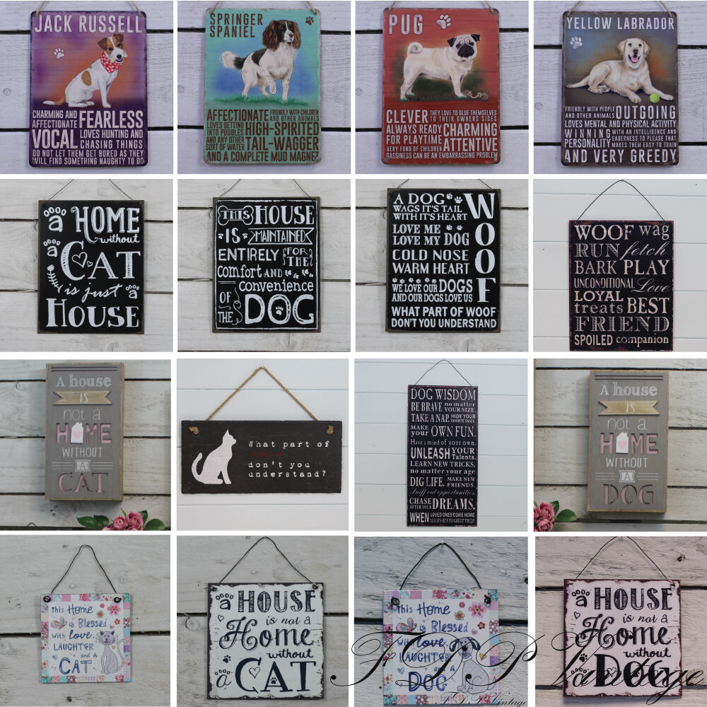 Dog Sign Cat Sign Retro Vintage Plaques And Sayings Shabby