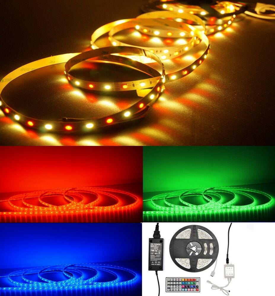 2 5 20m led strip streifen band set 12v u 24v rgb u rgbw warm od kaltweiss ebay. Black Bedroom Furniture Sets. Home Design Ideas