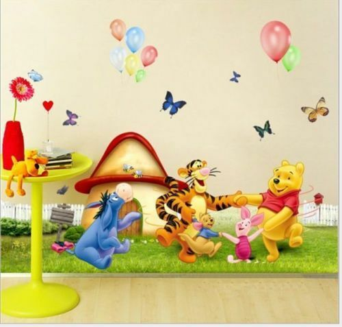 winnie the pooh wall stickers nursery boy kids baby room vinyl art decal decor ebay. Black Bedroom Furniture Sets. Home Design Ideas