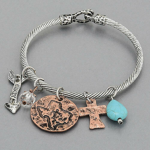 Silver Texas Cross Turquoise Arrow Crazy Charms Dangling
