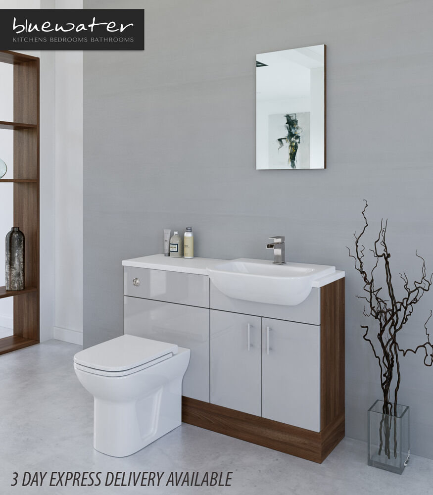 Grey Bathroom Furniture Uk: LIGHT GREY / AMERICAN WALNUT BATHROOM FITTED FURNITURE