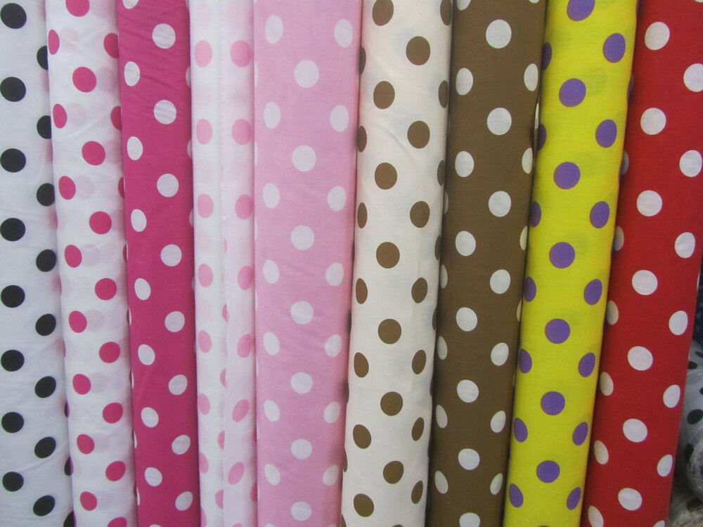 big polka dot poly cotton fabric 58 wide by the yard home decor ebay. Black Bedroom Furniture Sets. Home Design Ideas
