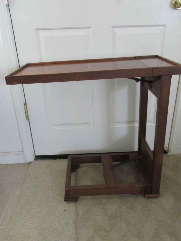 Vintage Solid Wood Portable/Folding Rolling Table/ Office