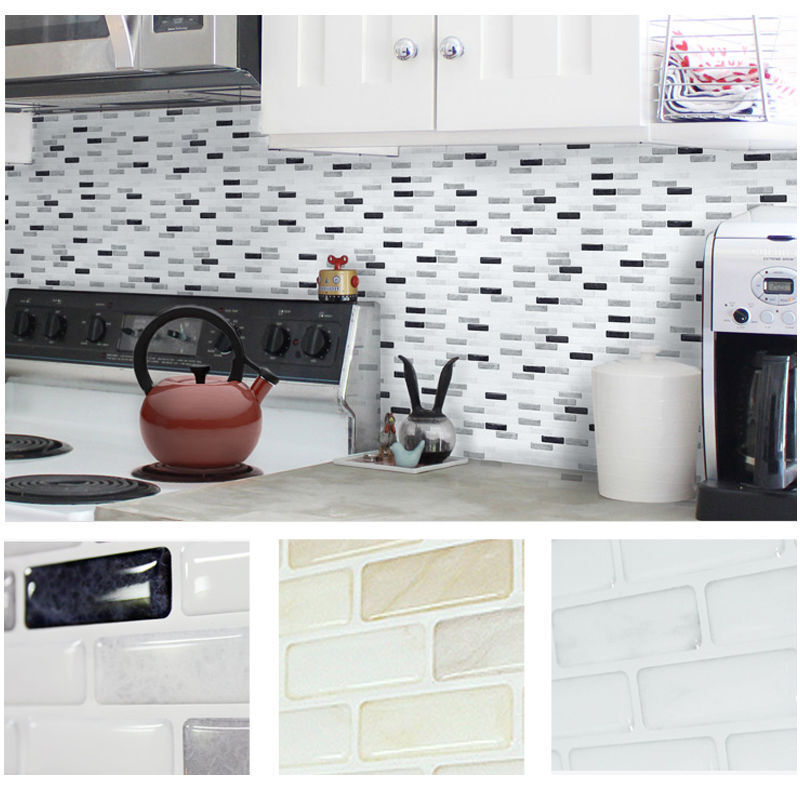 Home decor brick mosaic kitchen bathroom foil beauty 3d for Home wallpaper ebay
