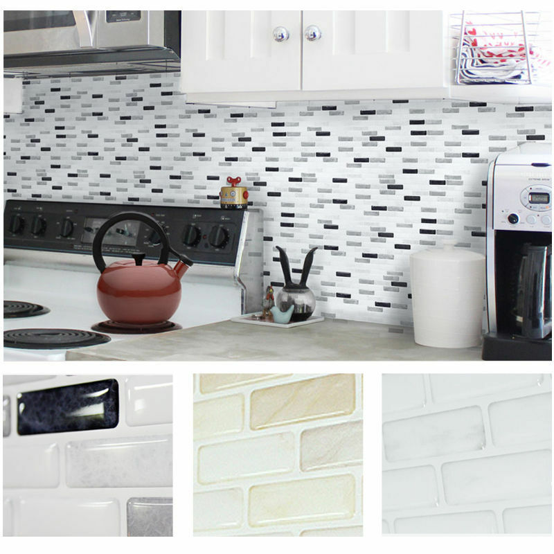 Wallpaper Tiles For Kitchen: Home Decor Brick Mosaic Kitchen Bathroom Foil Beauty 3D