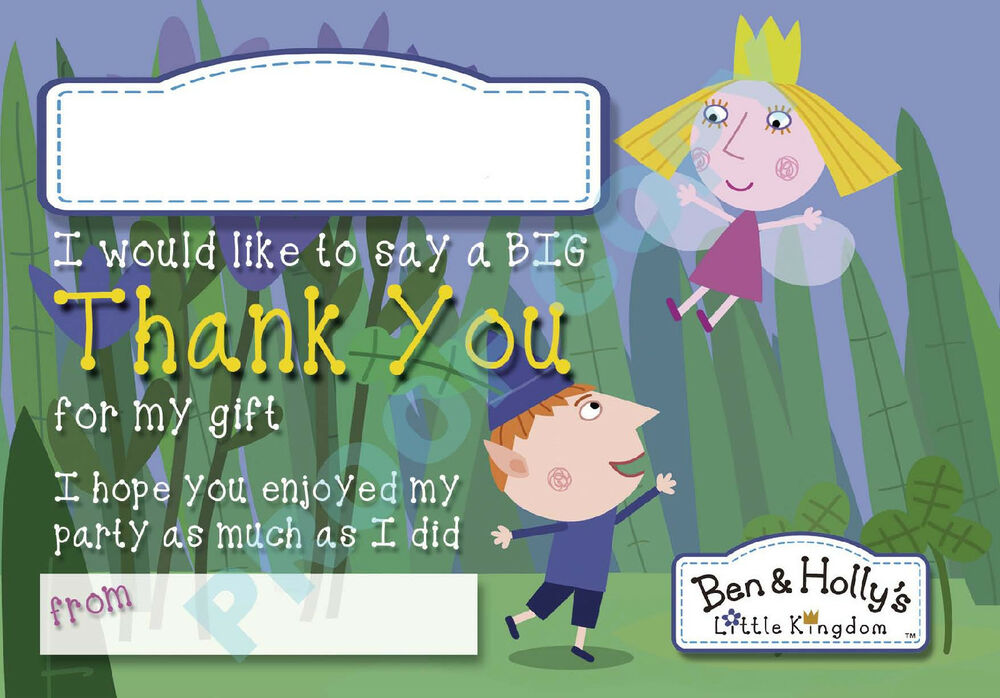 BEN and HOLLY Pack of 10 THANK YOU CARDS Kids Children birthday | eBay