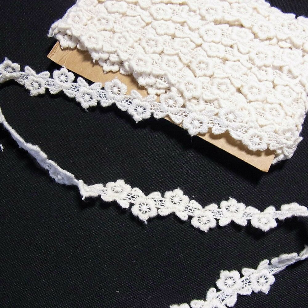 Scalloped Embroidery Eyelet Cotton Lace Trim Ivory 5Yard 0.5inch (1.2cm) Wide | EBay