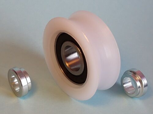 50 Mm Nylon Pulley Wheel 15 Mm Bearing Round Groove 24 Mm