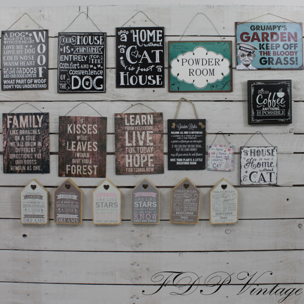 vintage signs chic metal plaque slate humorous sayings home garden pet friend ebay. Black Bedroom Furniture Sets. Home Design Ideas