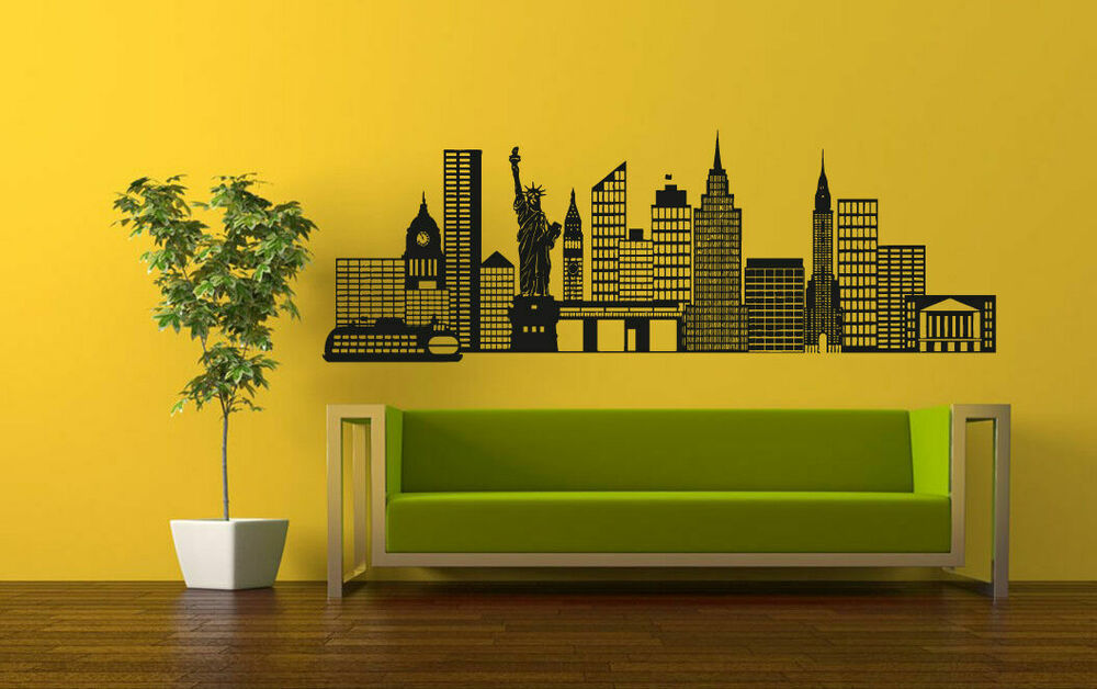 wall vinyl sticker decals mural room design art new york city skyline bo1329 ebay