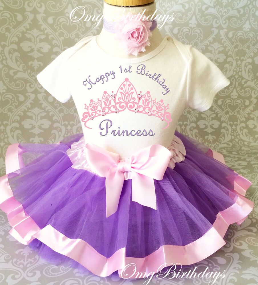 Princess Lavender Pink Crown Baby Girl 1st First Birthday Tutu Outfit Shirt Set