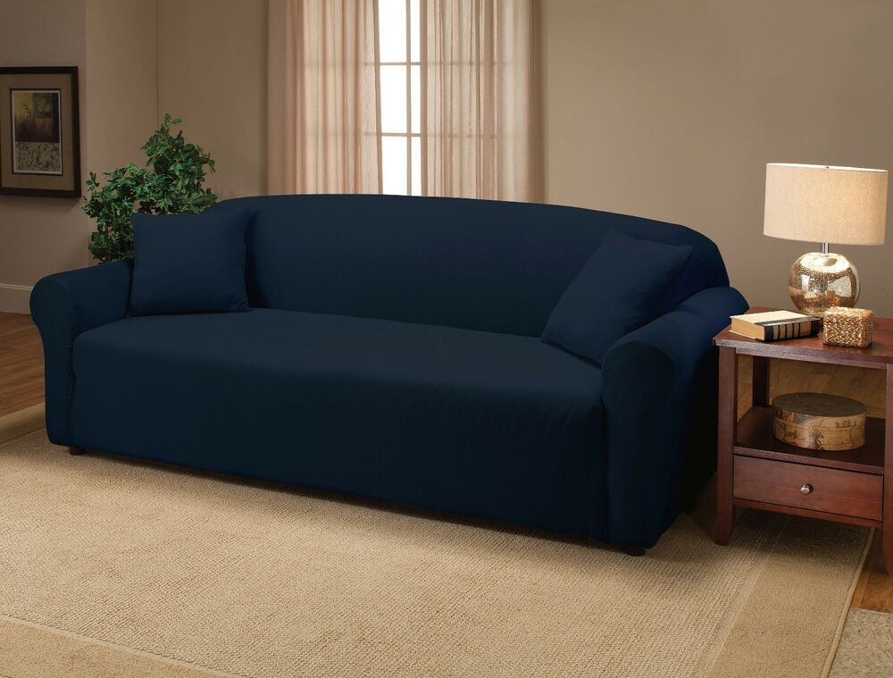 NAVY BLUE JERSEY SOFA STRETCH SLIPCOVER, COUCH COVER