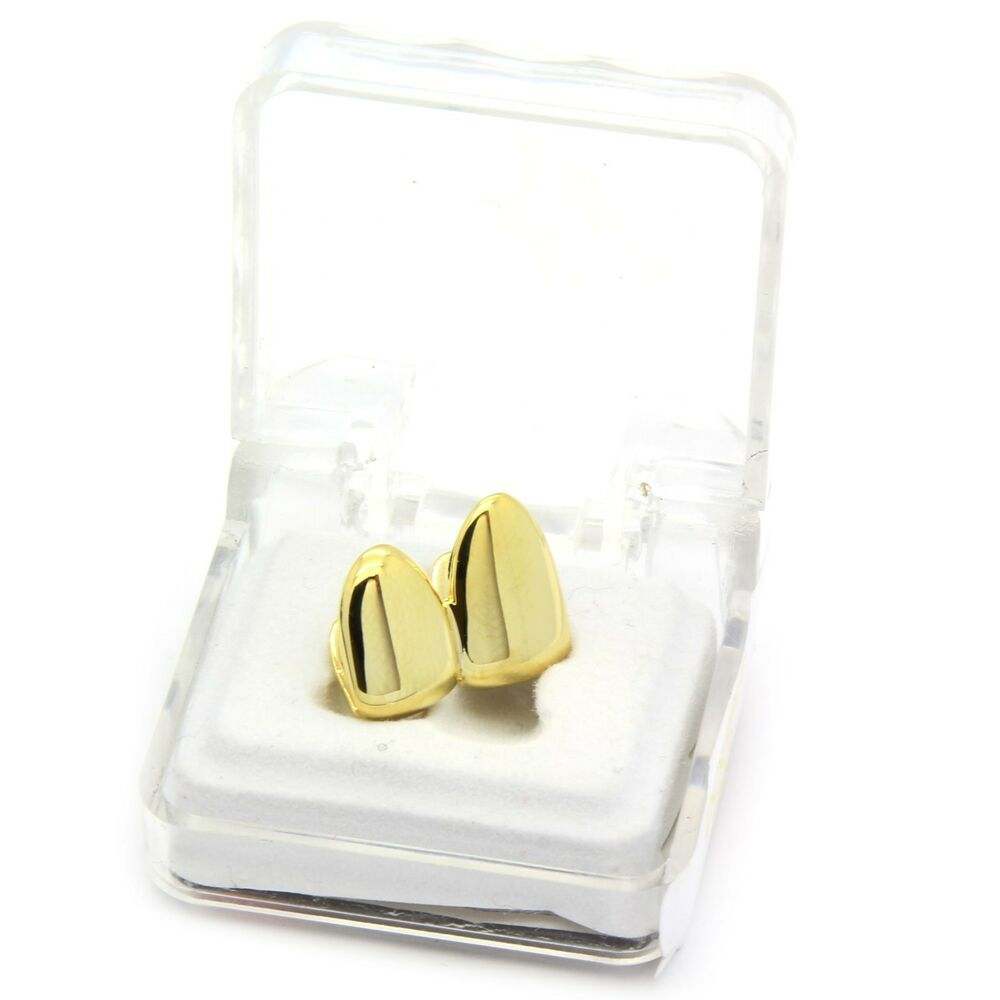 14k Gold Plated Hip Hop Small Double Cap Canine Two Teeth
