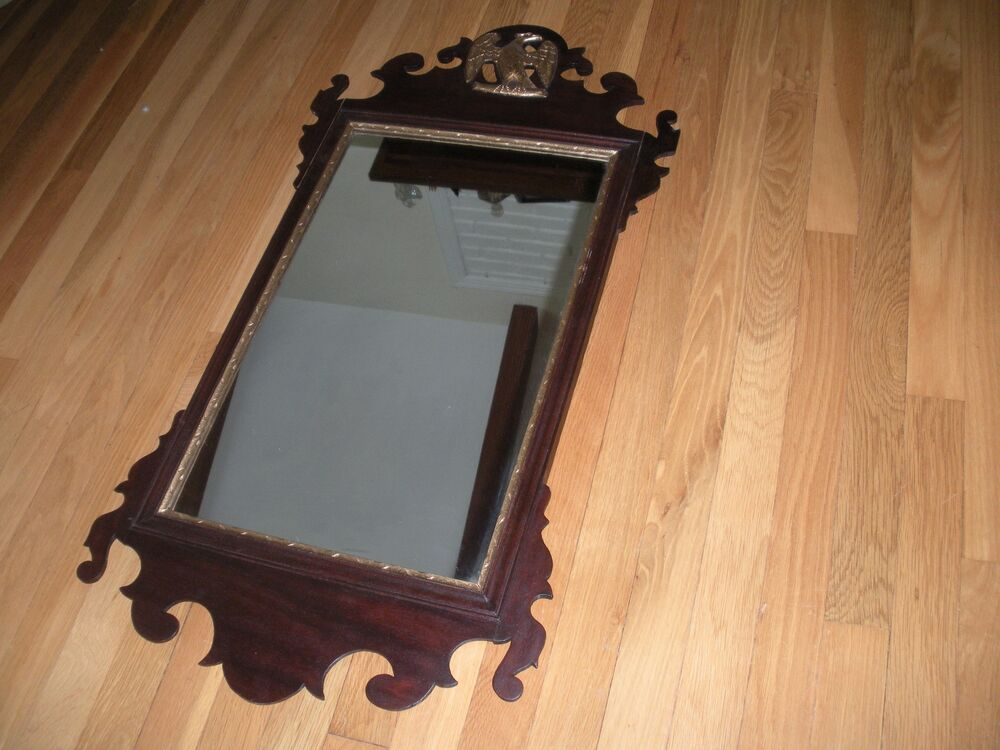 Antique Wood Federal Mirror With Bronze Eagle Gold Painted