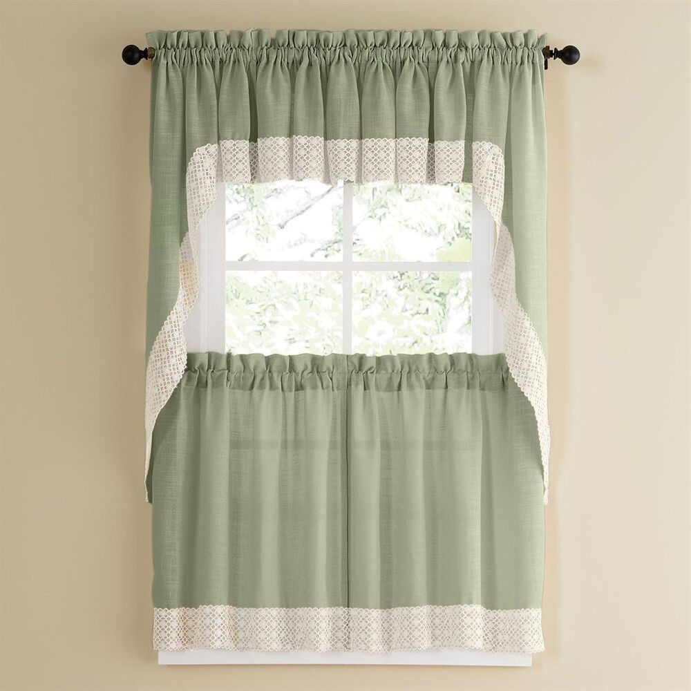 Kitchen Curtains And Valances: Sage W/White Lace Trim