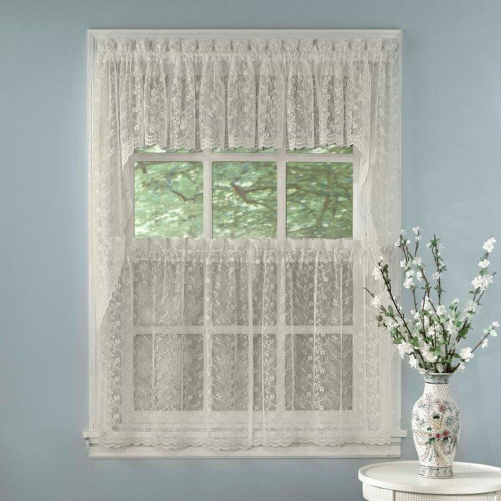 Elegant Ivory Priscilla Lace Kitchen Curtains Tiers