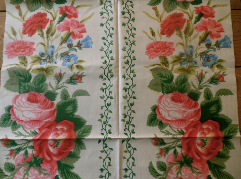 Antique cottage floral cabbage roses ivy cotton chintz for Chintz fabric