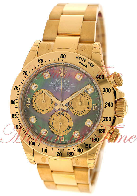 Rolex Daytona Tahitian Mother Of Pearl Diamond Dial Yellow