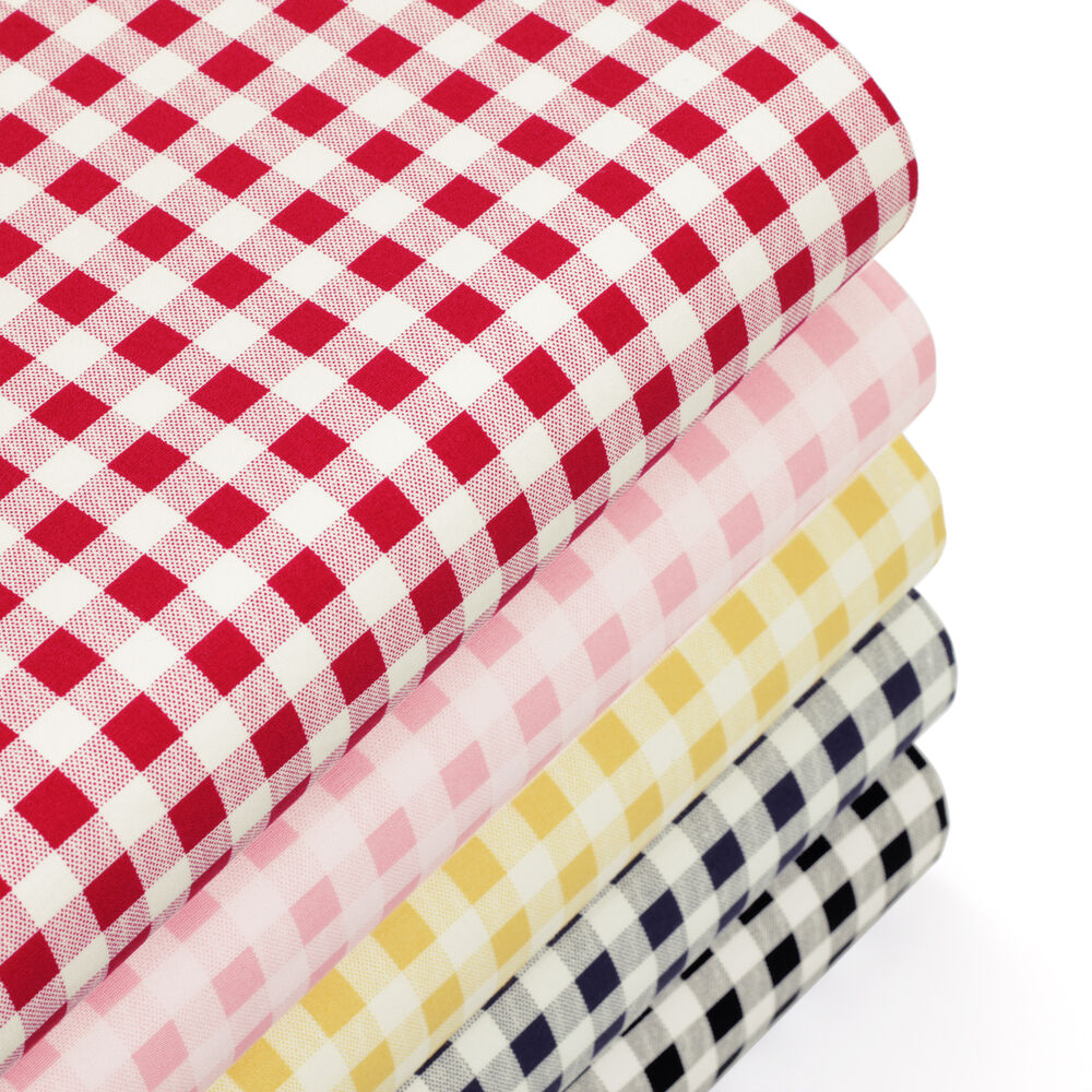 Cotton fabric per fq classic london gingham plaid check for Cotton quilting fabric