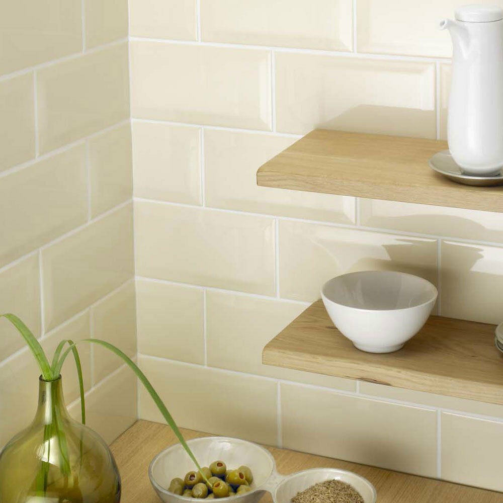 kitchen wall ceramic tiles retro metro brick ivory gloss ceramic 200x100x5mm wall 6409