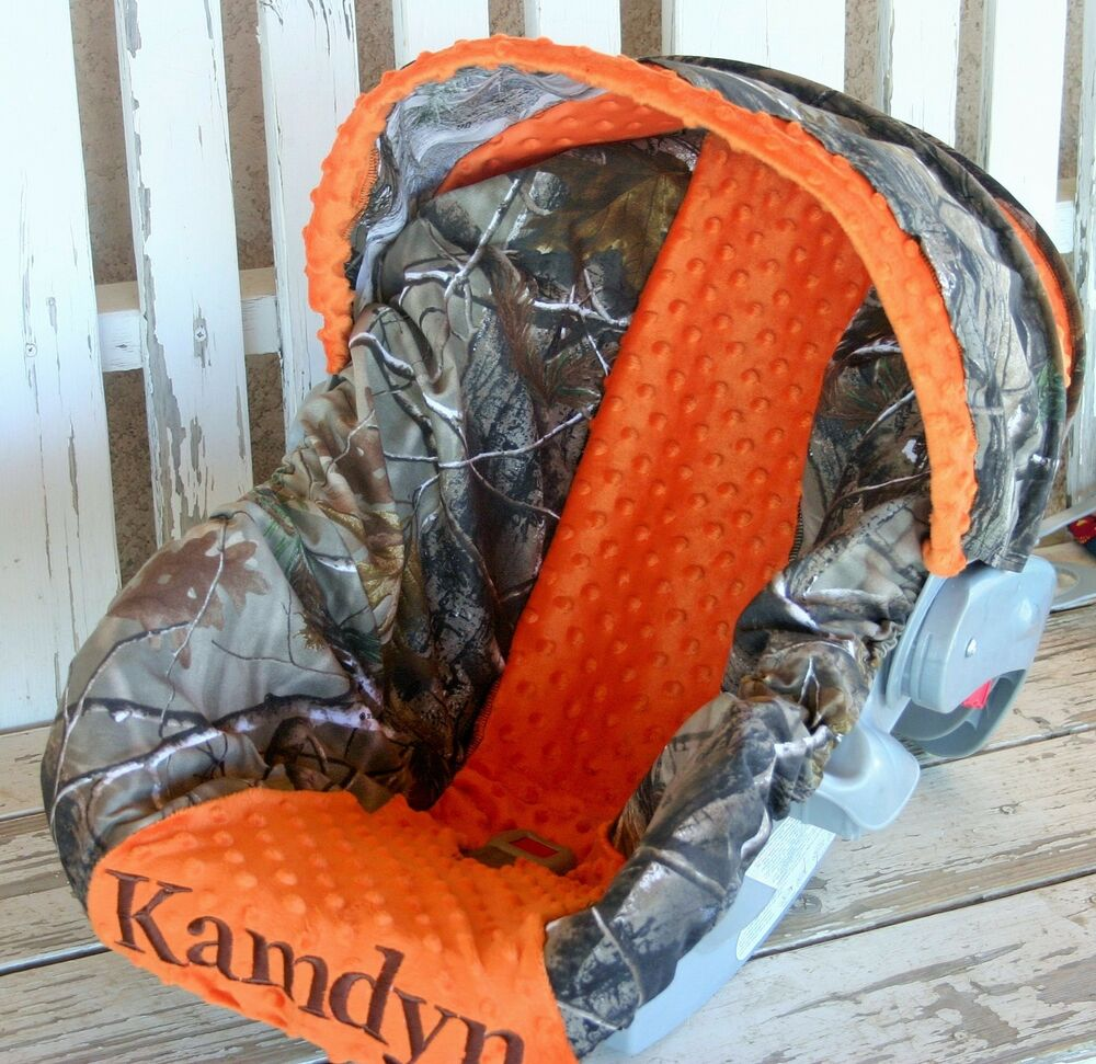 Realtree Camo Amp Orange Minky Infant Car Seat Cover And Hood Canopy Cover W Emb Ebay
