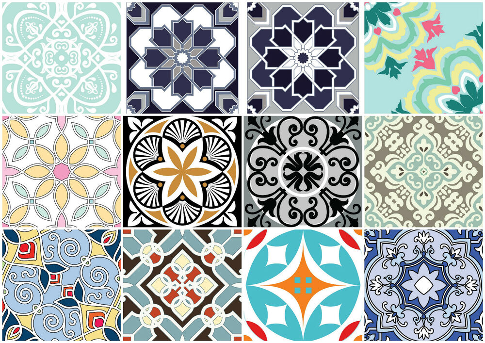 Decorative Wall Tile Stickers : Set retro art tile wall decals stickers diy kitchen