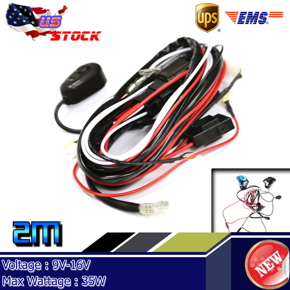Hid Driving Light Bar Wiring Harness Kit 40a Switch Relay 12v Ebay Details About Led Work 35w Fog On Off