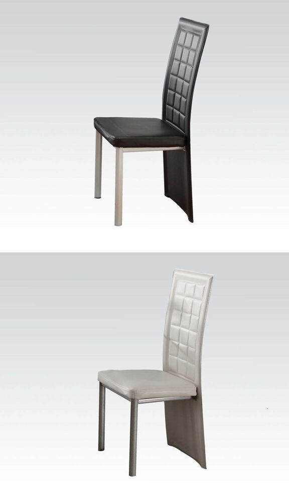 Modern square tufted high back dining chair in black or for White high back dining chairs