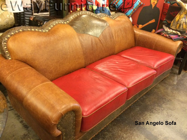 Tooled Handcut 100 Top Grain Leather San Angelo Sofa Made In Usa Ebay