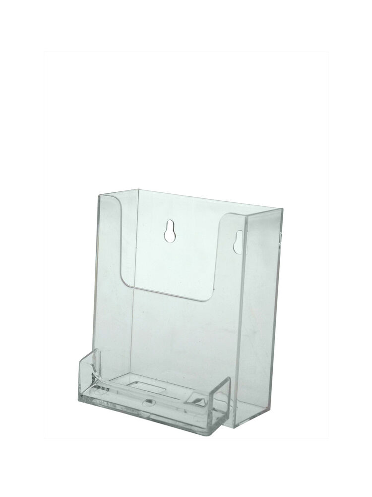 clear acrylic wall mount brochure holder with attached business card holder ebay. Black Bedroom Furniture Sets. Home Design Ideas