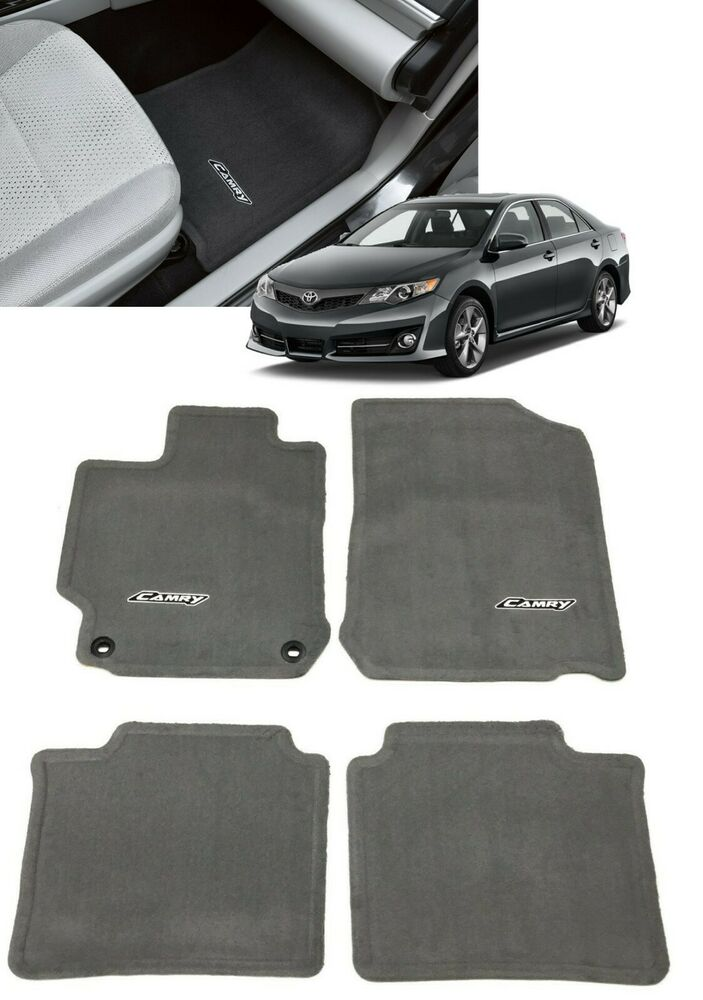 2012 2014 camry floor mats carpet ash gray 4pc set for Original toyota floor mats