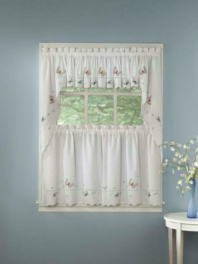 Monarch embroidered butterfly white kitchen curtains for Where to buy curtain panels