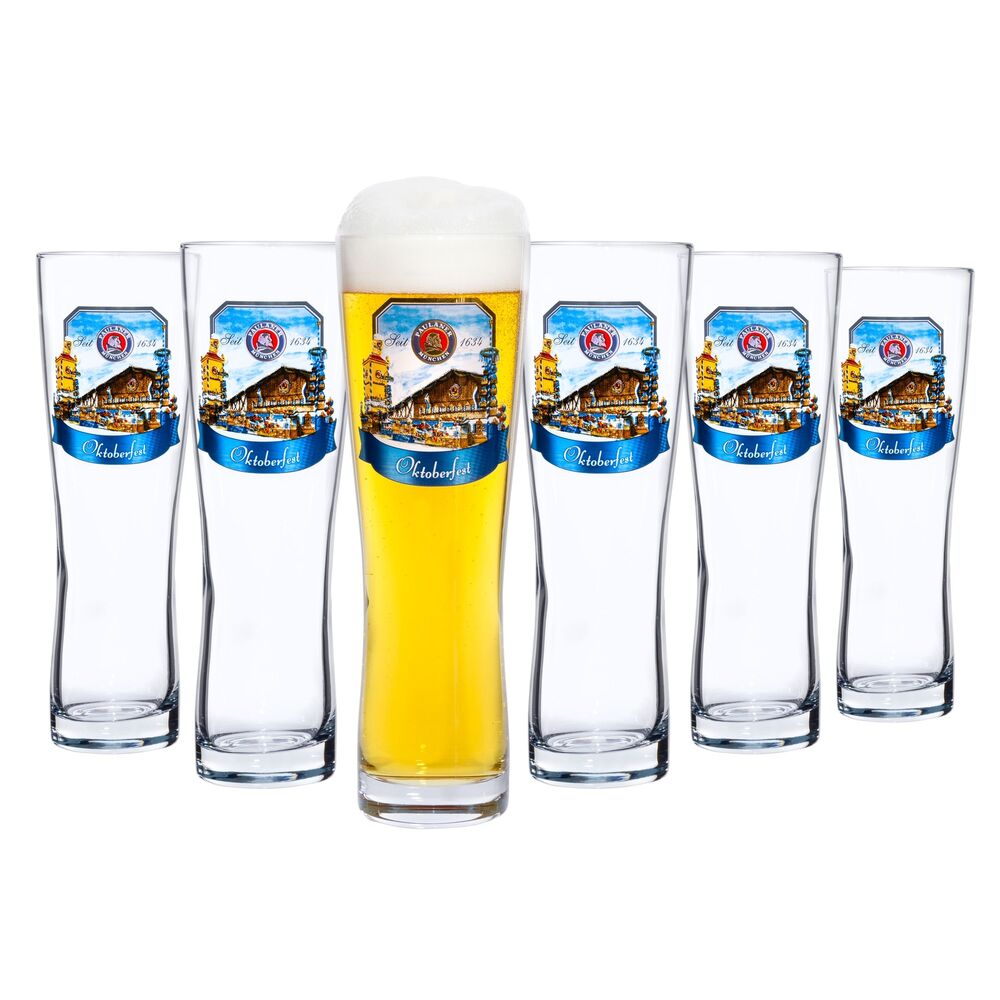 6er set paulaner weizenbierglas 0 5l weizenglas weissbierglas bierglas weissbier ebay. Black Bedroom Furniture Sets. Home Design Ideas