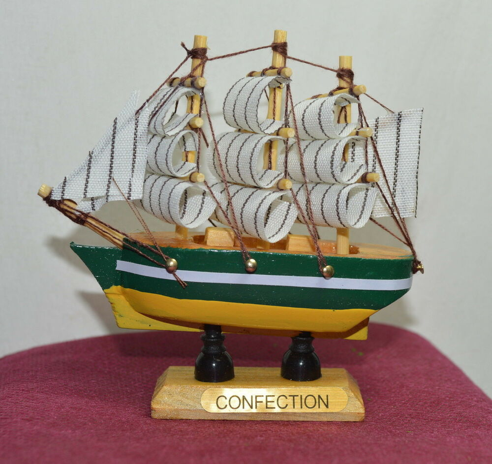New Vintage Nautical Wooden Wood Ship Sailboat Boat Home
