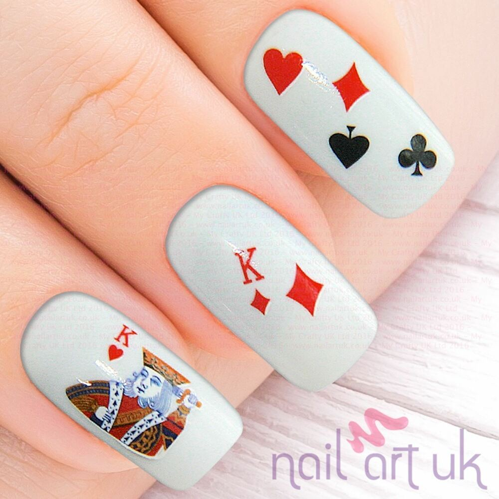Deck Of Cards Water Decal Nail Art Stickers, Decals