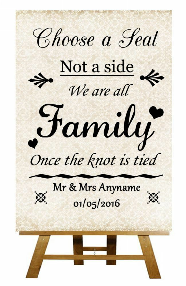 Shabby Choose A Seat Not A Side Personalised Wedding Sign Poster