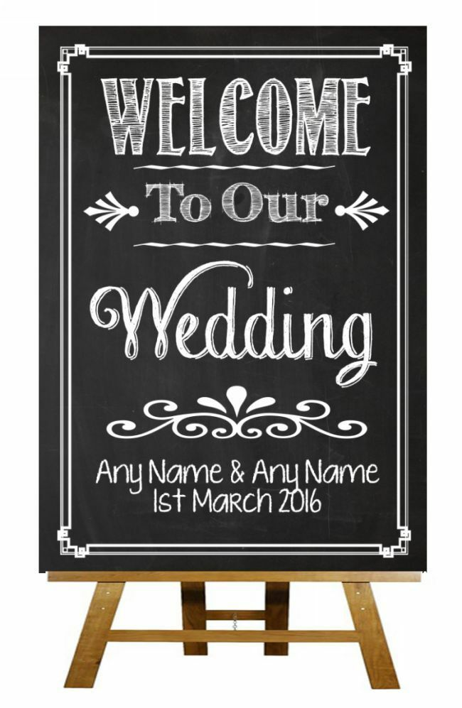 Chalkboard Welcome To Our Wedding Vintage Personalised