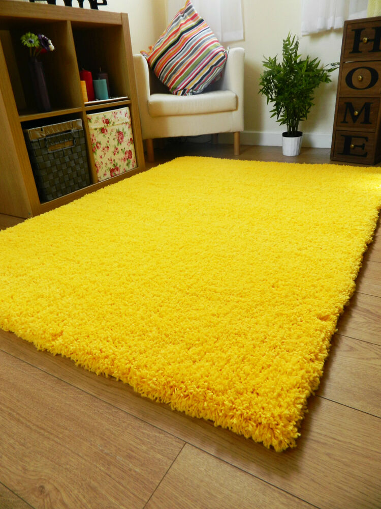 NEW BRIGHT NON SHED THICK YELLOW SHAGGY RUG LARGE SMALL ...