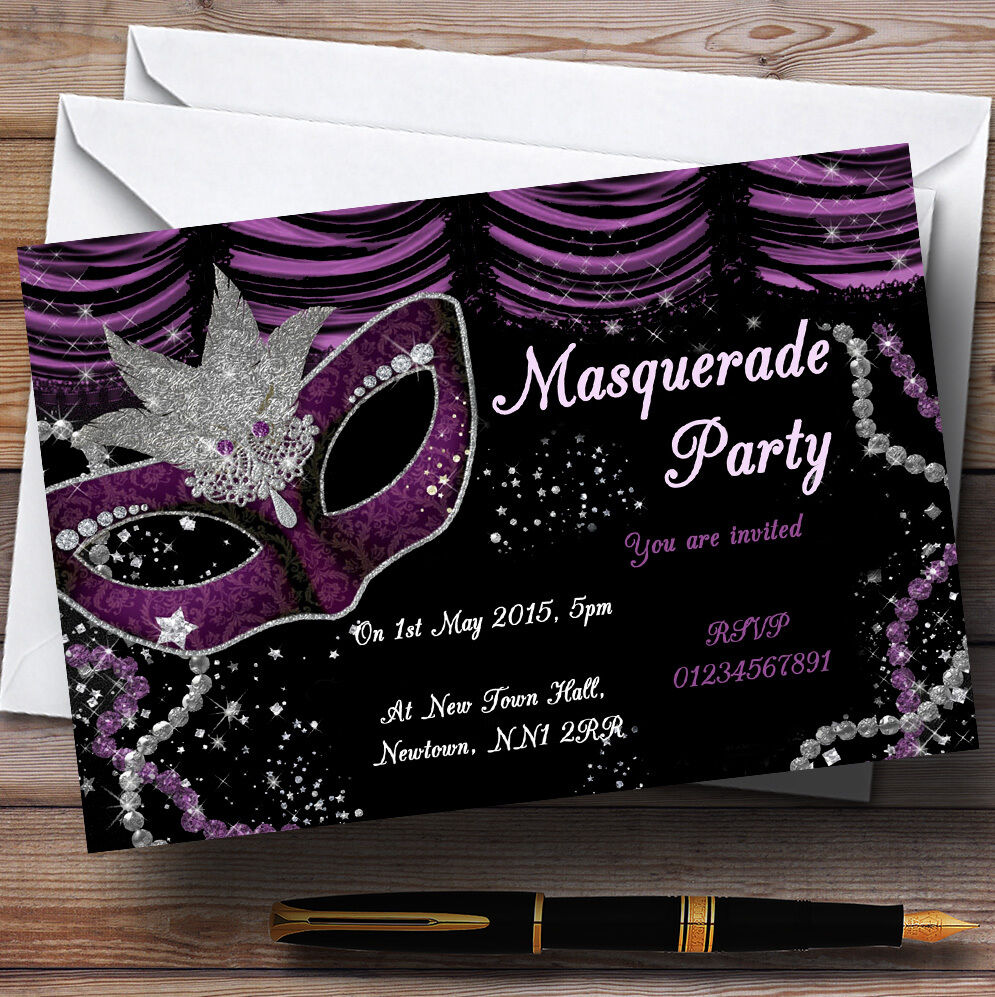 Masquerade Purple Personalised Birthday Party Invitations ...