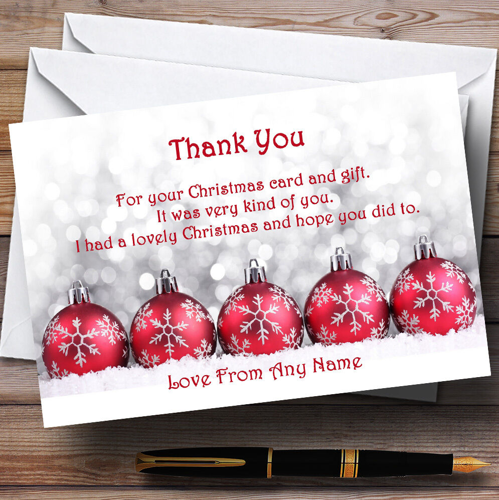 Red Baubles Personalised Christmas Party Thank You Cards Ebay
