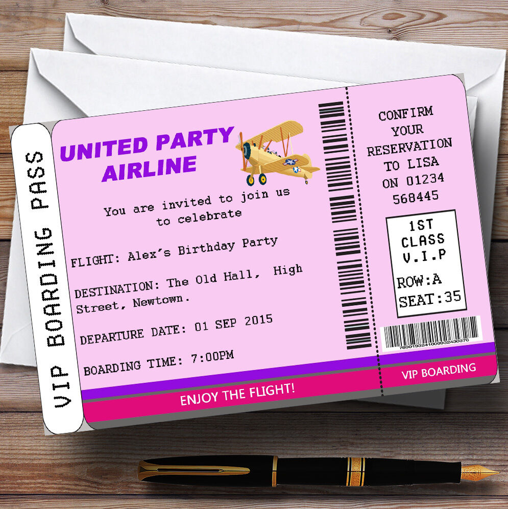 Airplane Ticket Boarding Pass Birthday Invitation: Pink Vip Plane Boarding Pass Ticket Theme Personalised