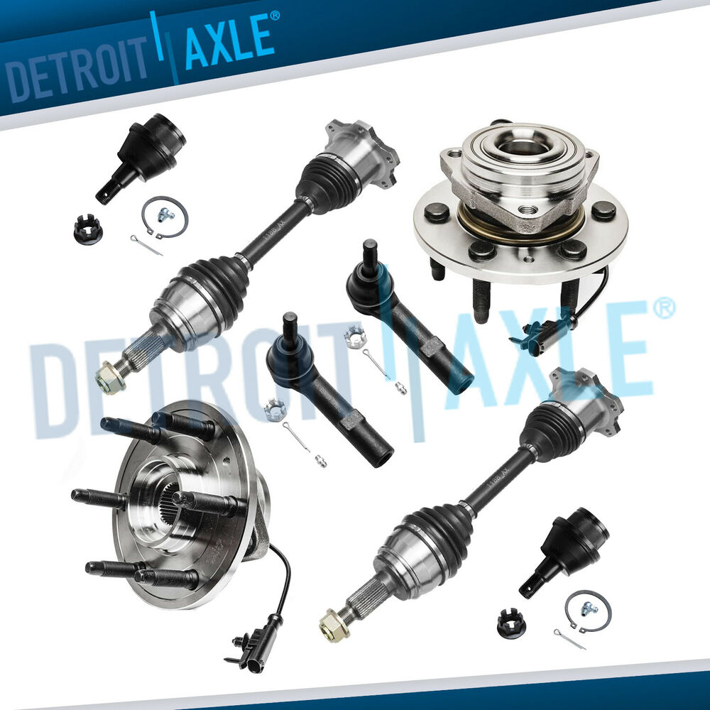 8 new 2 front wheel bearing 2 cv axles 2 lower ball joint 2 tie rod 4wd ebay. Black Bedroom Furniture Sets. Home Design Ideas